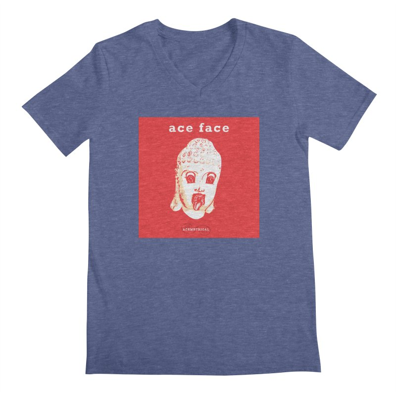 ACE FACE Buddha [REAL RED] ( / ) ACEMETRICAL Men's Regular V-Neck by ACEMETRICAL ( / ) Disc Golf
