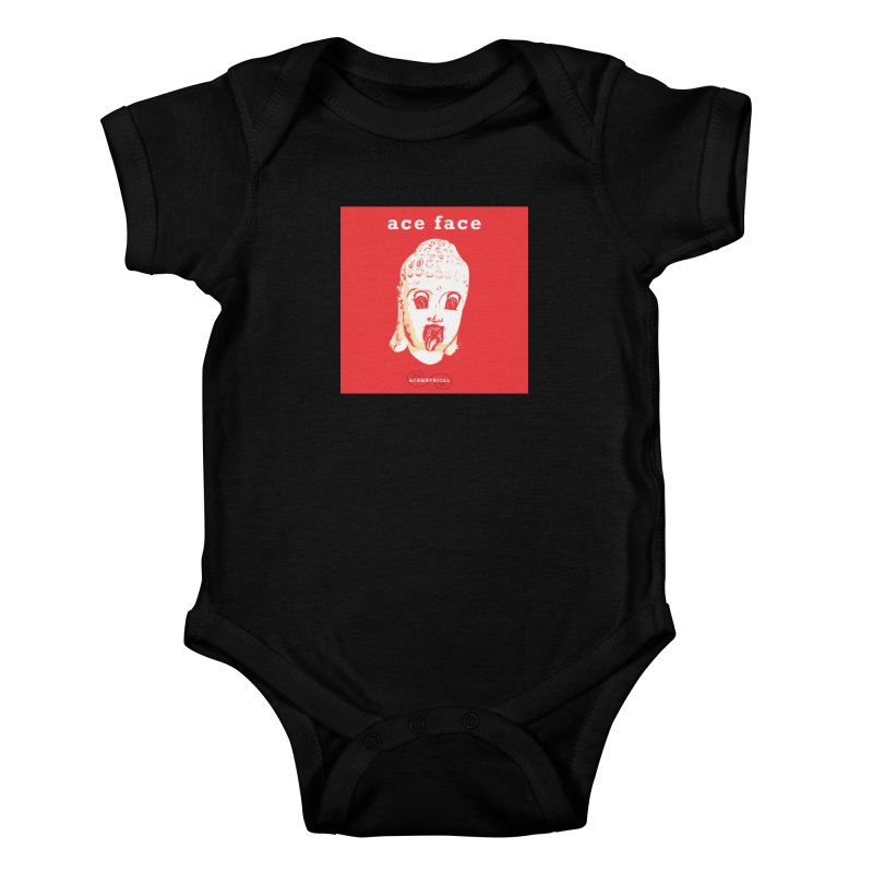 ACE FACE Buddha [REAL RED] ( / ) ACEMETRICAL Kids Baby Bodysuit by ACEMETRICAL ( / ) Disc Golf