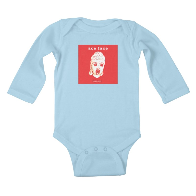 ACE FACE Buddha [REAL RED] ( / ) ACEMETRICAL Kids Baby Longsleeve Bodysuit by ACEMETRICAL ( / ) Disc Golf