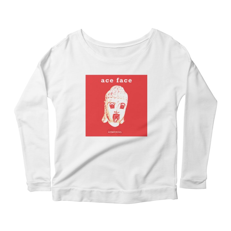 ACE FACE Buddha [REAL RED] ( / ) ACEMETRICAL Women's Scoop Neck Longsleeve T-Shirt by ACEMETRICAL ( / ) Disc Golf