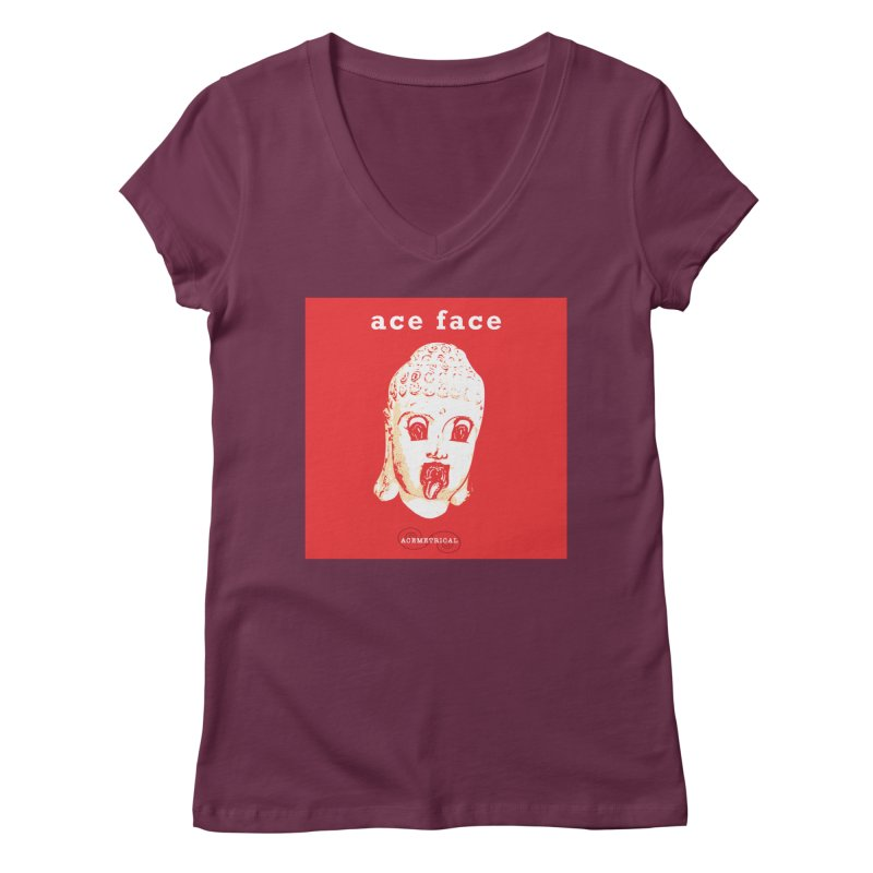 ACE FACE Buddha [REAL RED] ( / ) ACEMETRICAL Women's Regular V-Neck by ACEMETRICAL ( / ) Disc Golf