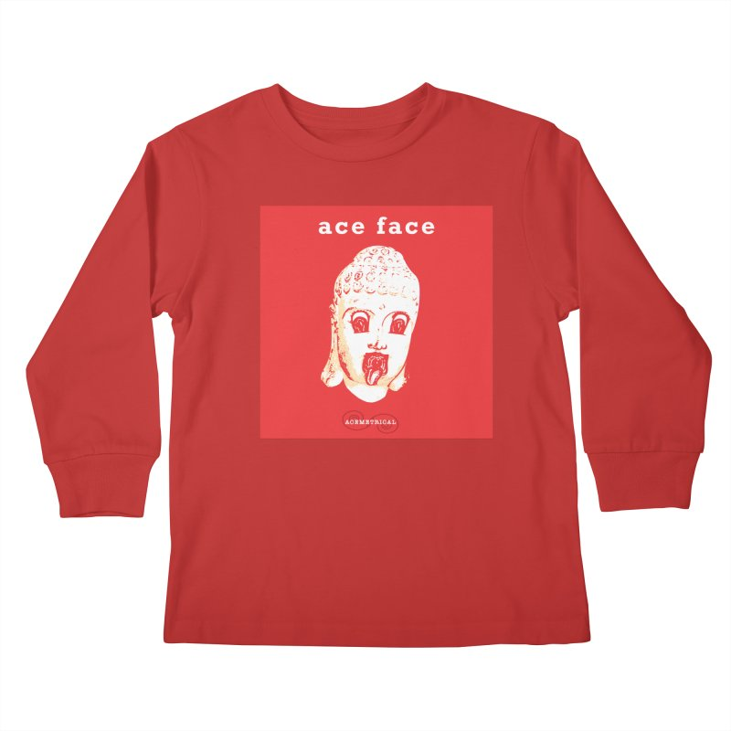 ACE FACE Buddha [REAL RED] ( / ) ACEMETRICAL Kids Longsleeve T-Shirt by ACEMETRICAL ( / ) Disc Golf