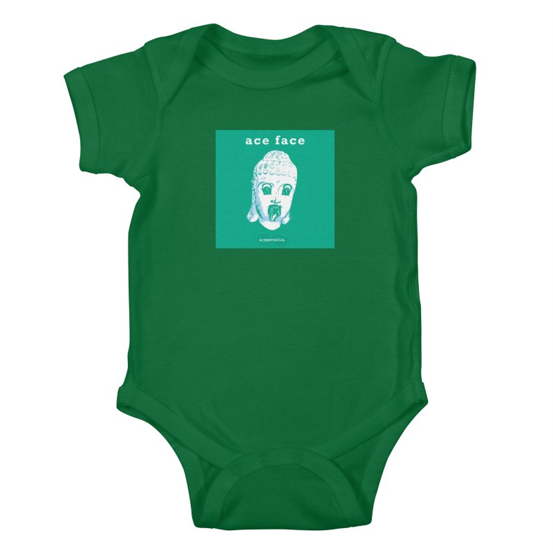 ACE FACE Buddha [AQUAMARINE GREEN] - ACEMETRICAL Kids Baby Bodysuit by ACEMETRICAL ( / ) Disc Golf
