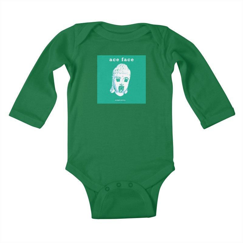 ACE FACE Buddha [AQUAMARINE GREEN] - ACEMETRICAL Kids Baby Longsleeve Bodysuit by ACEMETRICAL ( / ) Disc Golf