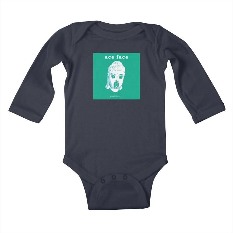 ACE FACE Buddha [AQUAMARINE GREEN] - ACEMETRICAL Kids Baby Longsleeve Bodysuit by ACEMETRICAL ( / ) Disc Golf