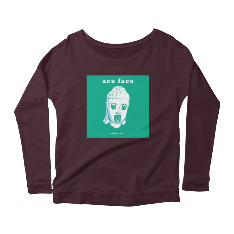ACE FACE Buddha [AQUAMARINE GREEN] - ACEMETRICAL Women's Scoop Neck Longsleeve T-Shirt by ACEMETRICAL ( / ) Disc Golf