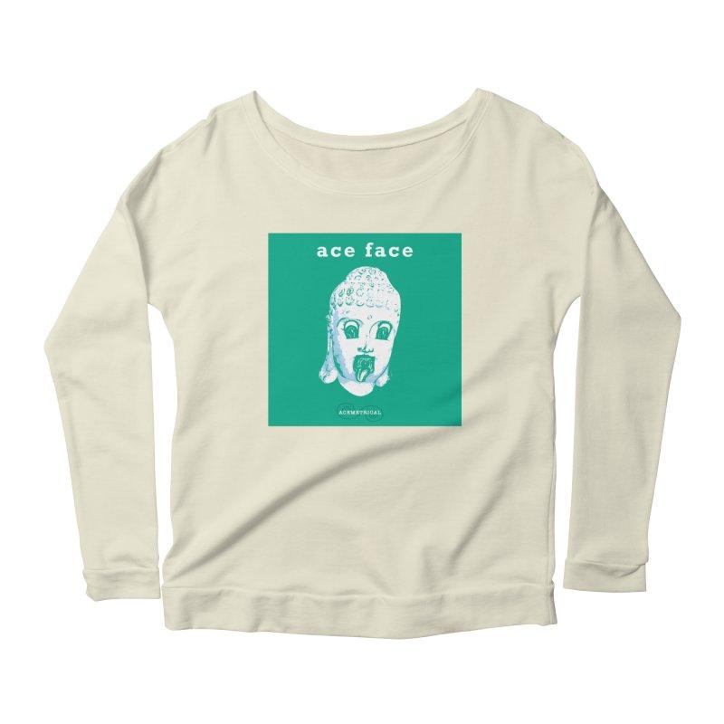 ACE FACE Buddha [AQUAMARINE GREEN] - ACEMETRICAL Women's Scoop Neck Longsleeve T-Shirt by ACEMETRICAL ( / ) Disc Golf