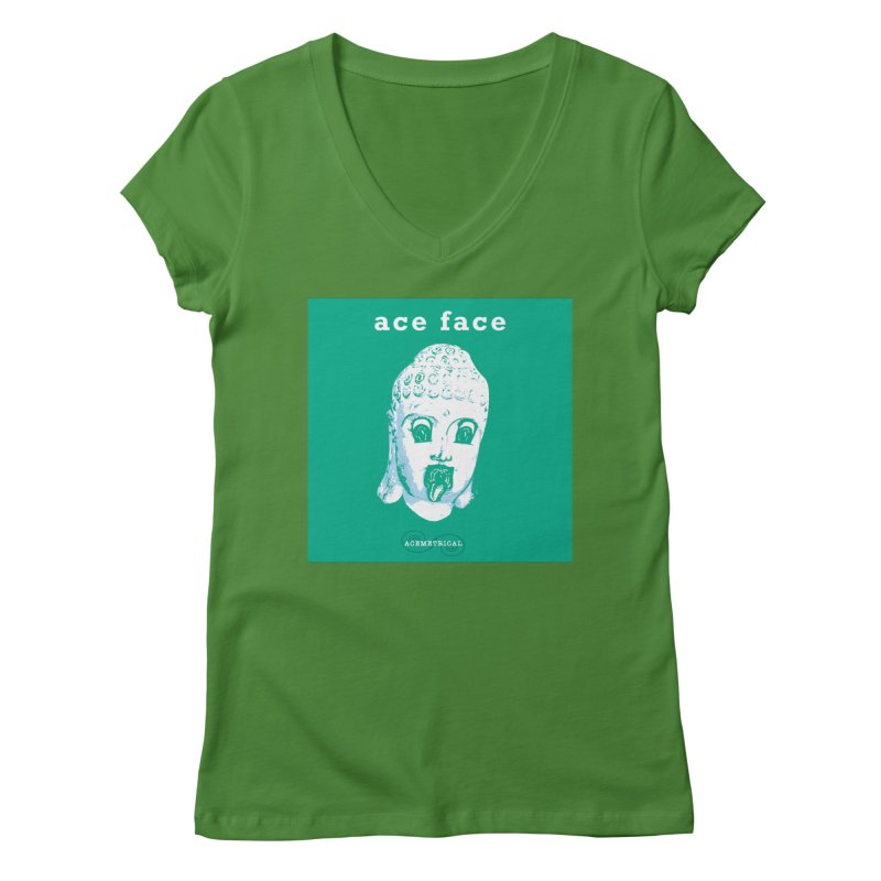 ACE FACE Buddha [AQUAMARINE GREEN] - ACEMETRICAL Women's Regular V-Neck by ACEMETRICAL ( / ) Disc Golf
