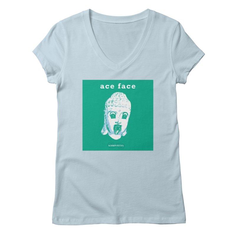 ACE FACE Buddha [AQUAMARINE GREEN] - ACEMETRICAL Women's Regular V-Neck by ACEMETRICAL ( / ) Disc Golf