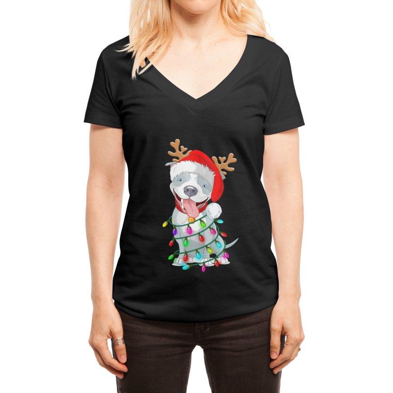 Pitbull Christmas Tree T-shirt For Men Women KId Pitbull Lover Women's V-Neck by Acous's Artist Shop
