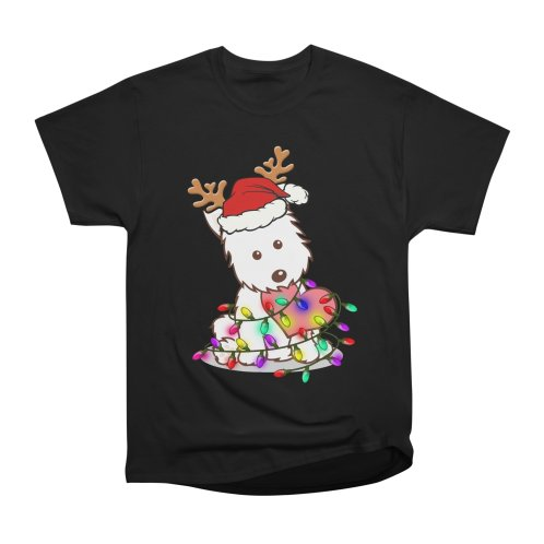 image for Westie Puppies Dog Christmas Tree Light T-shirt For Dog Lover