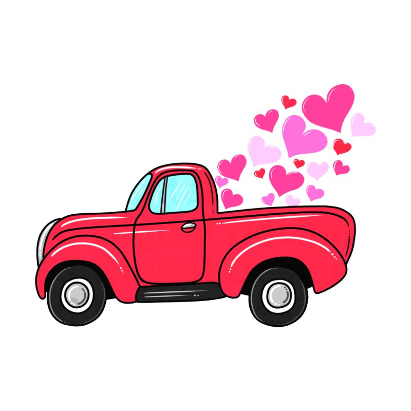 Valentine Truck Carrying T-shirt Women's V-Neck by Acous's Artist Shop