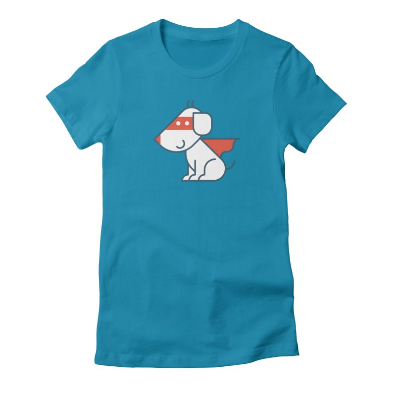 Actionhero Dog in Women's Fitted T-Shirt Turquoise by Actionhero Swag!