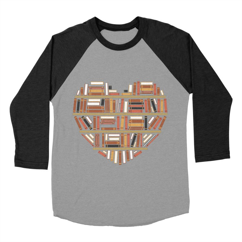 I Heart Books Men's Baseball Triblend T-Shirt by ACWE Artist Shop