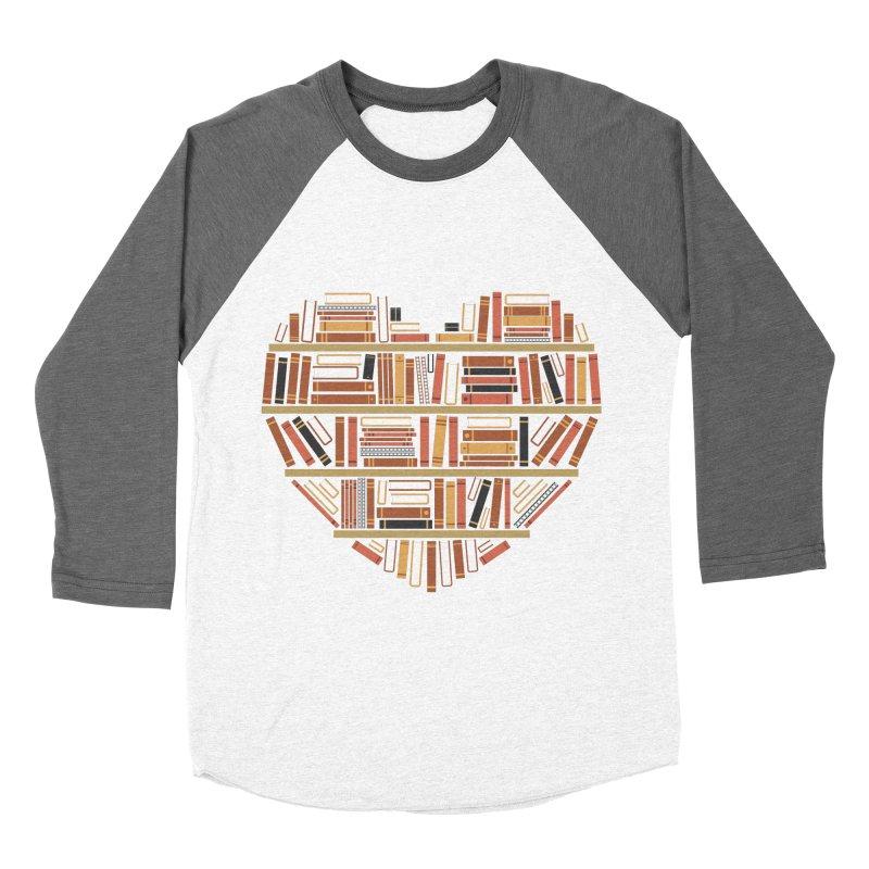 I Heart Books Men's Baseball Triblend T-Shirt by ACWE Artist Shop