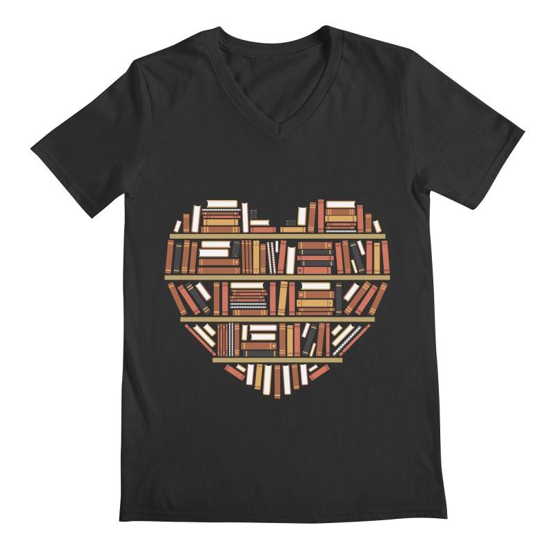 I Heart Books Men's V-Neck by ACWE Artist Shop