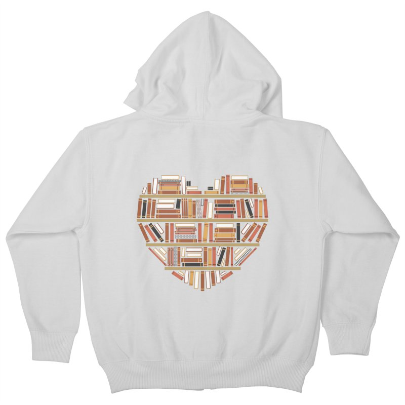 I Heart Books Kids Zip-Up Hoody by ACWE Artist Shop