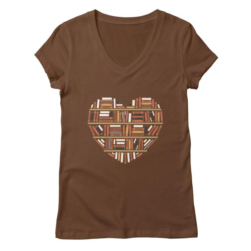 I Heart Books Women's V-Neck by ACWE Artist Shop