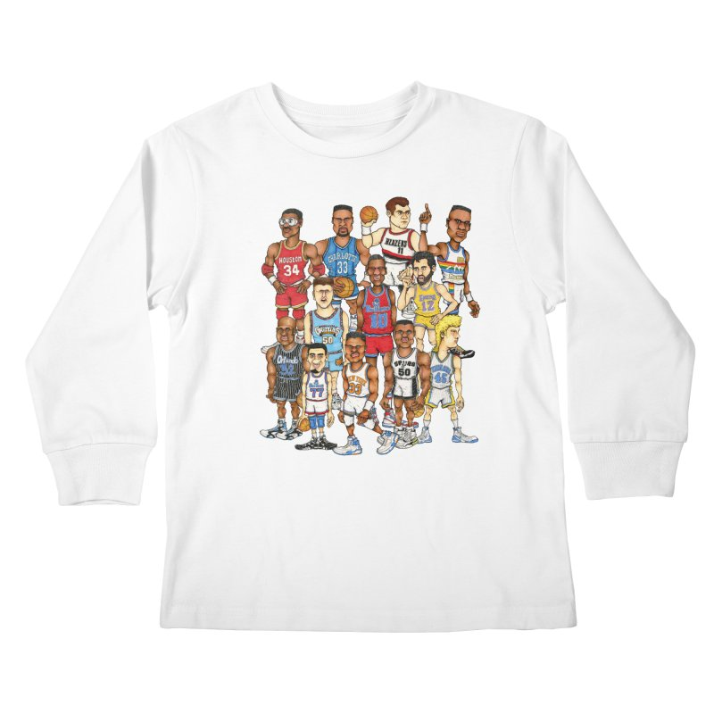 90's BIG FELLAS Kids Longsleeve T-Shirt by Adam Ballinger Art