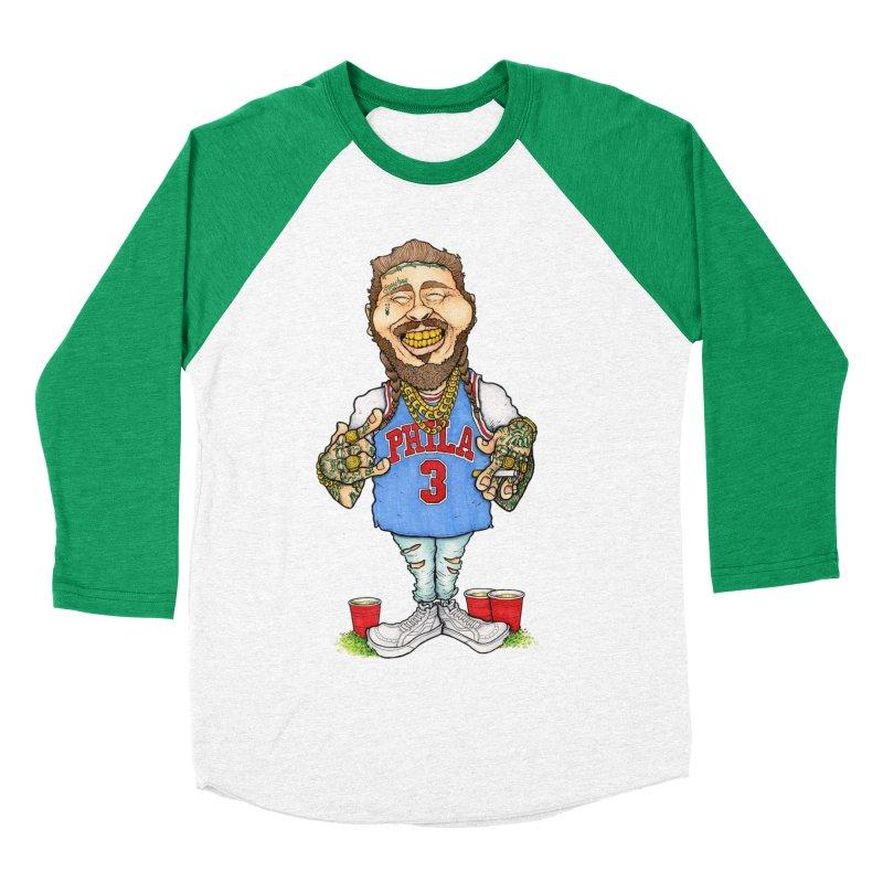White Iverson Men's Baseball Triblend T-Shirt by Adam Ballinger Art