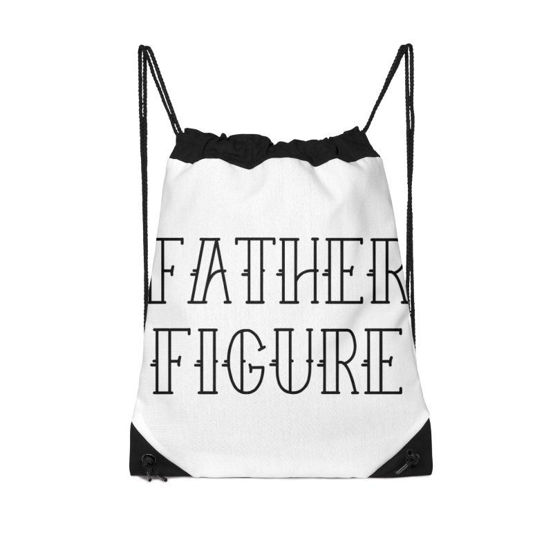 Father Figure Black Accessories Drawstring Bag Bag by adamj's Artist Shop