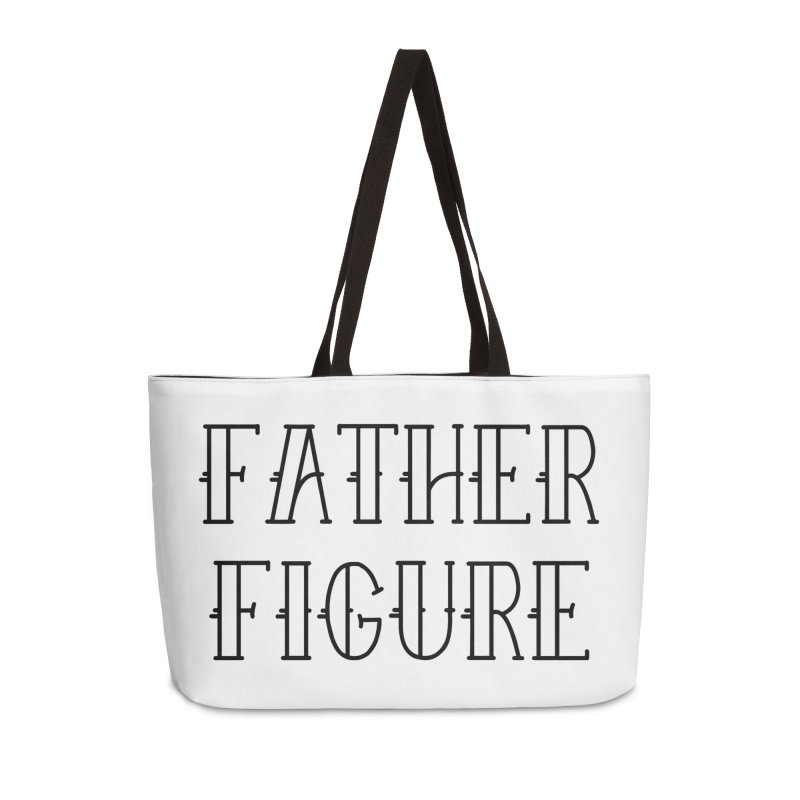 Father Figure Black Accessories Weekender Bag Bag by adamj's Artist Shop
