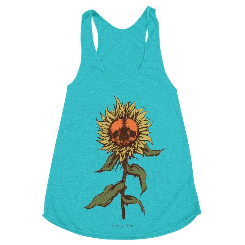 Sunflower Women's Racerback Triblend Tank by adamlevene's Artist Shop