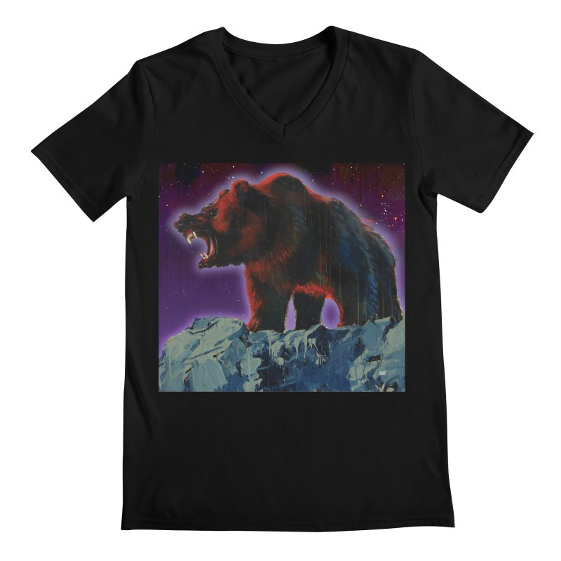 Cosmic Bear Men's Regular V-Neck by adamoday's Artist Shop