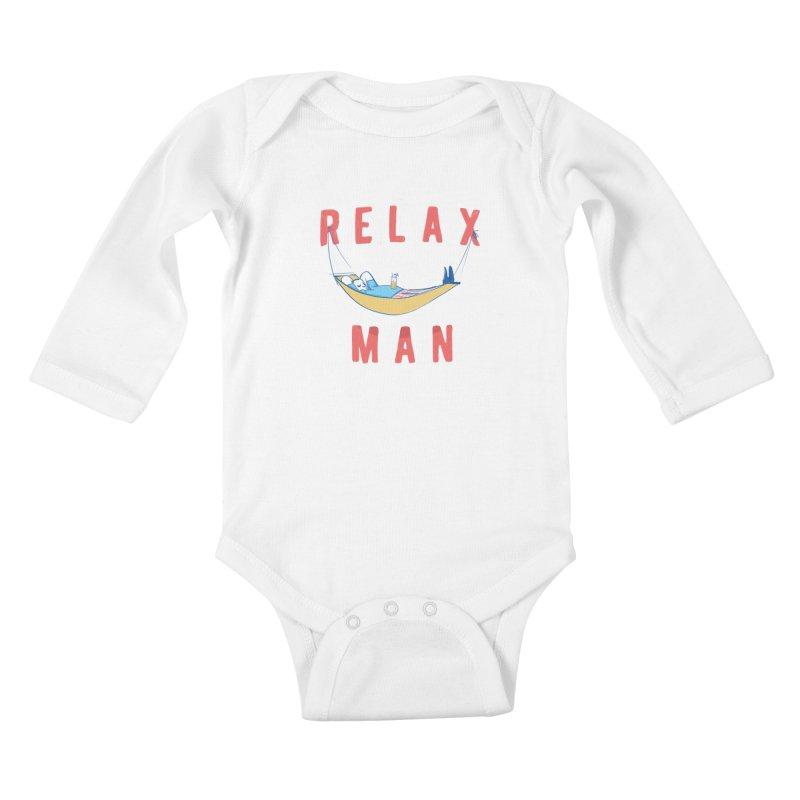 Relax Man Kids Baby Longsleeve Bodysuit by adamrajcevich's Artist Shop