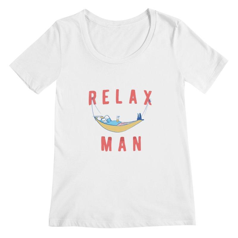 Relax Man Women's Scoopneck by adamrajcevich's Artist Shop