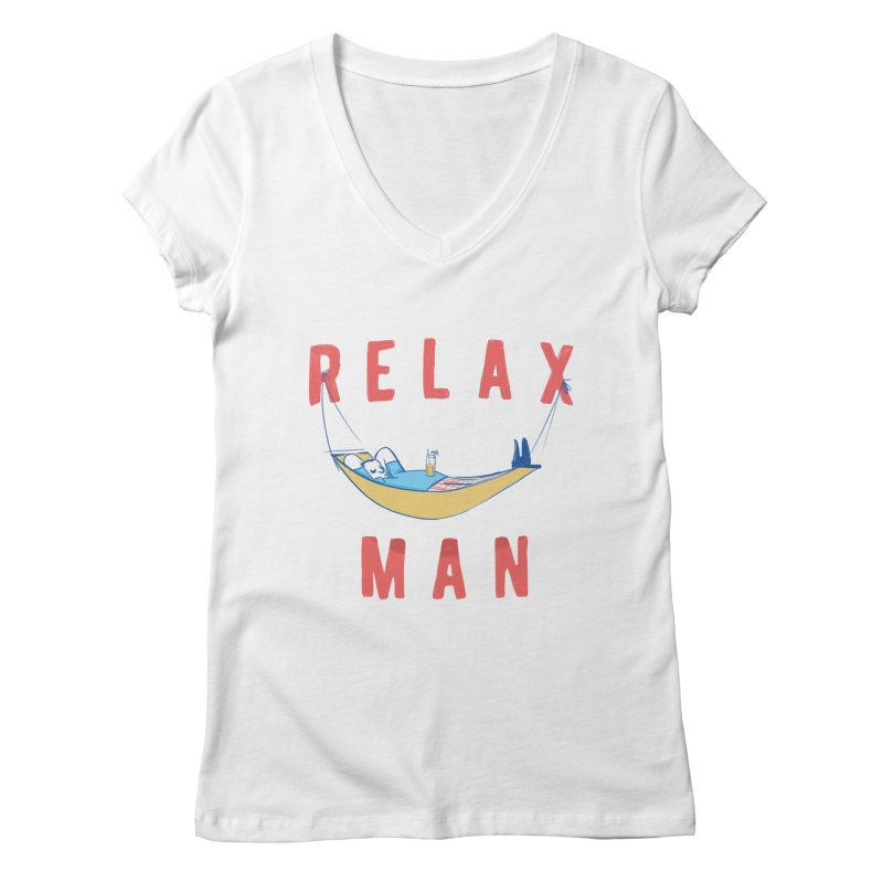 Relax Man Women's V-Neck by adamrajcevich's Artist Shop