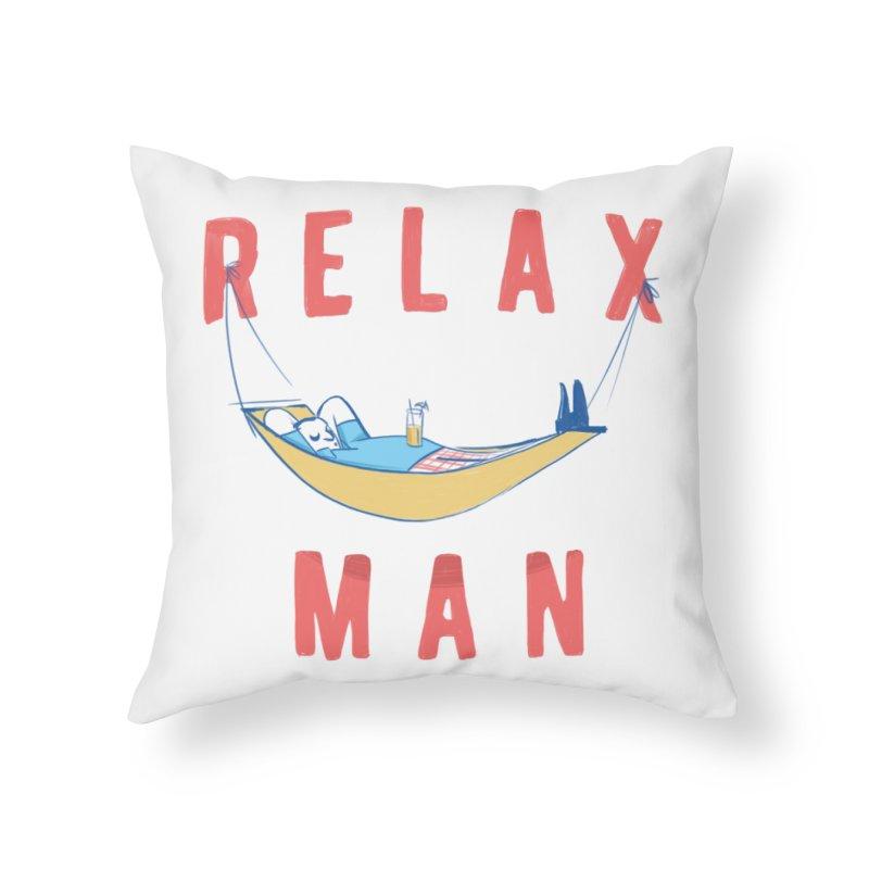 Relax Man Home Throw Pillow by adamrajcevich's Artist Shop