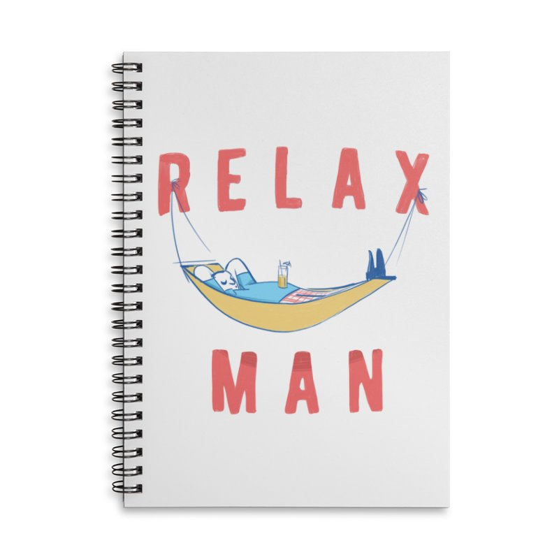 Relax Man Accessories Lined Spiral Notebook by adamrajcevich's Artist Shop