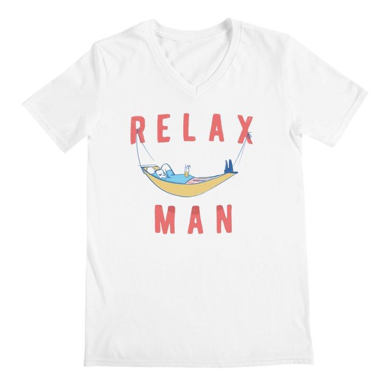 Relax Man Men's Regular V-Neck by adamrajcevich's Artist Shop