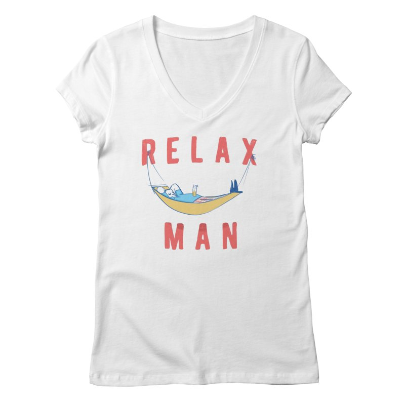 Relax Man Women's Regular V-Neck by adamrajcevich's Artist Shop