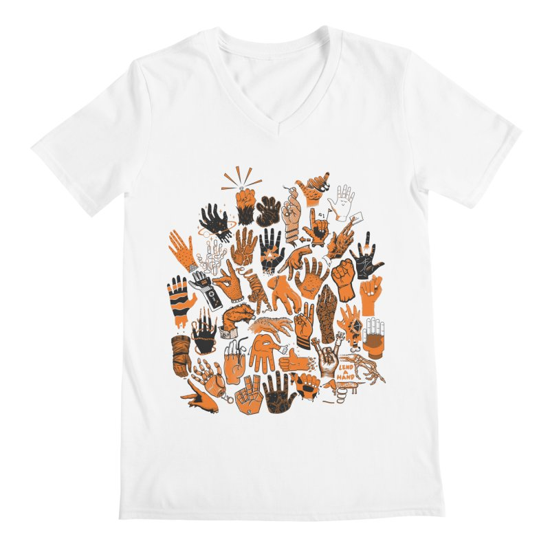 Lend a Hand Men's V-Neck by Adam White's Shop