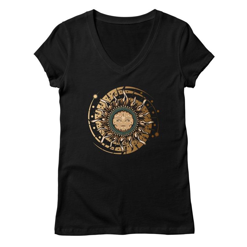 Sun Goddess Women's V-Neck by adamzworld's Artist Shop