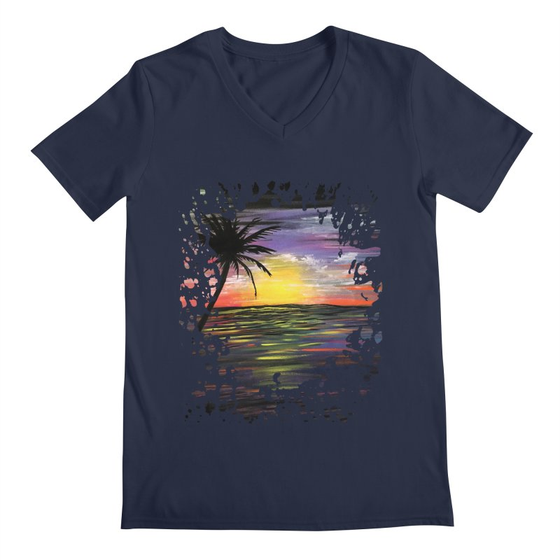 Sunset Sea Men's V-Neck by adamzworld's Artist Shop
