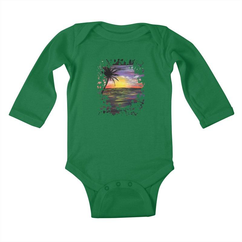 Sunset Sea Kids Baby Longsleeve Bodysuit by adamzworld's Artist Shop