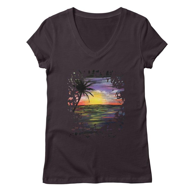 Sunset Sea Women's V-Neck by adamzworld's Artist Shop