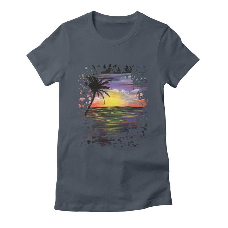 Sunset Sea Women's Fitted T-Shirt by adamzworld's Artist Shop