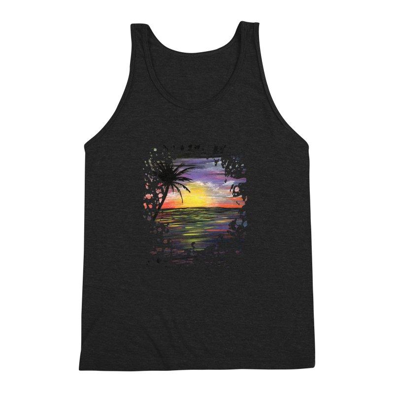 Sunset Sea Men's Triblend Tank by adamzworld's Artist Shop
