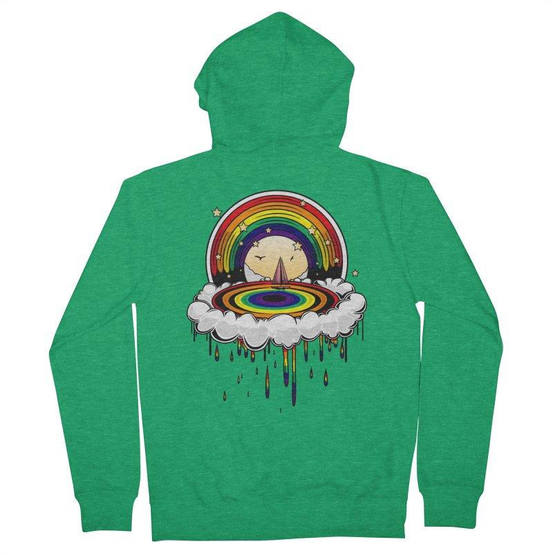 Rainbow Rain Men's Zip-Up Hoody by adamzworld's Artist Shop