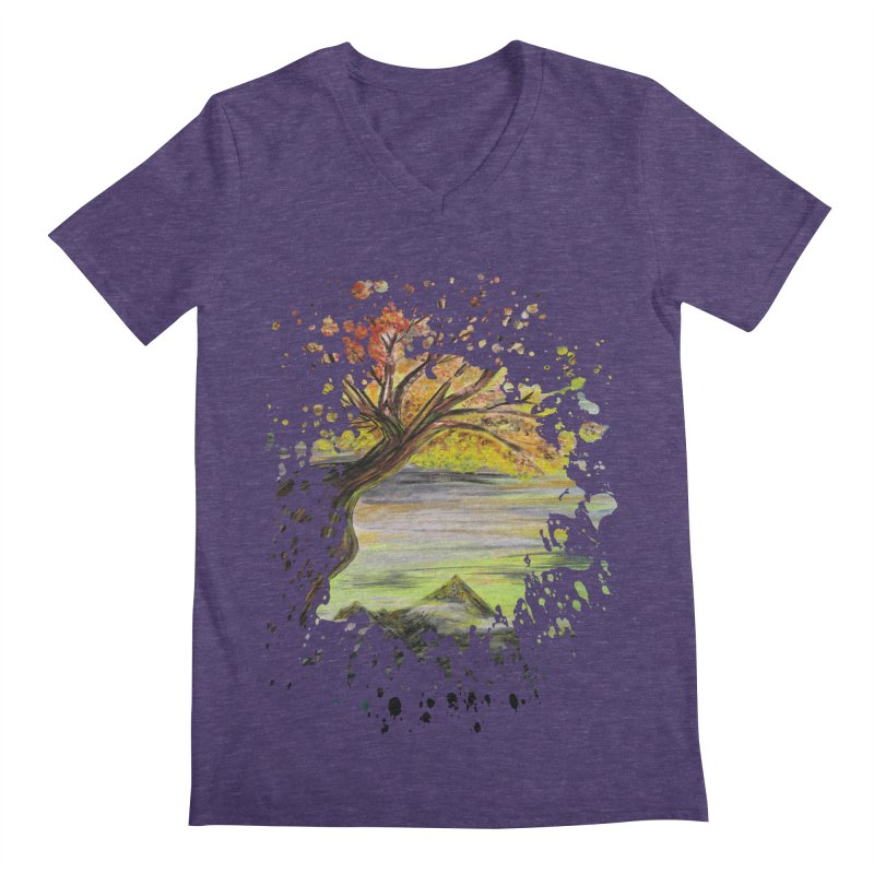 Over Looking Tree Men's V-Neck by adamzworld's Artist Shop