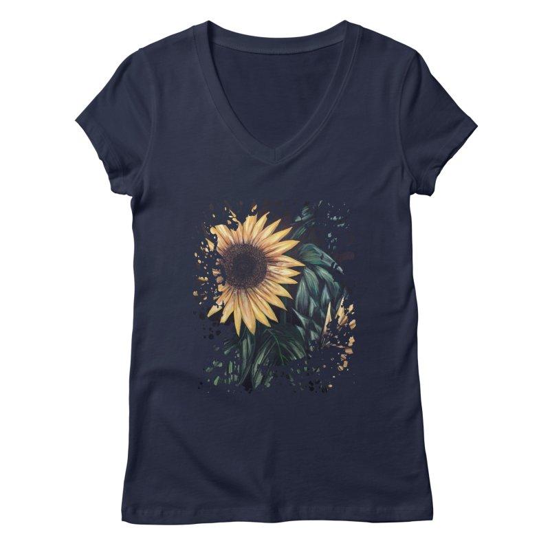 Sunflower Life Women's V-Neck by adamzworld's Artist Shop