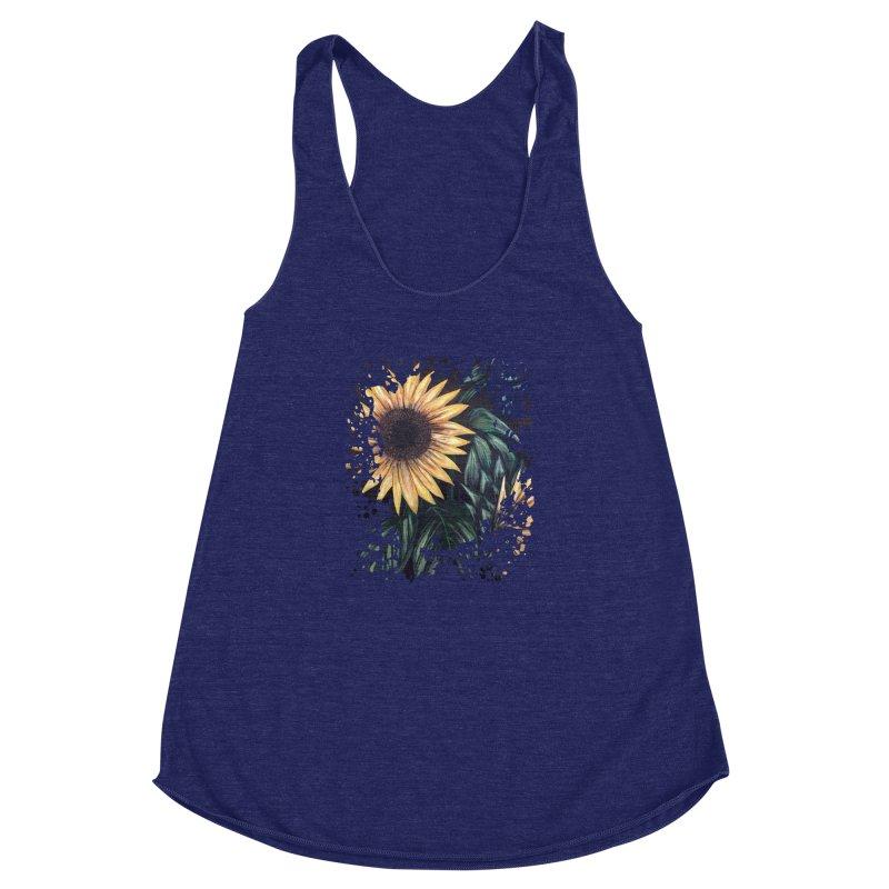 Sunflower Life Women's Racerback Triblend Tank by adamzworld's Artist Shop