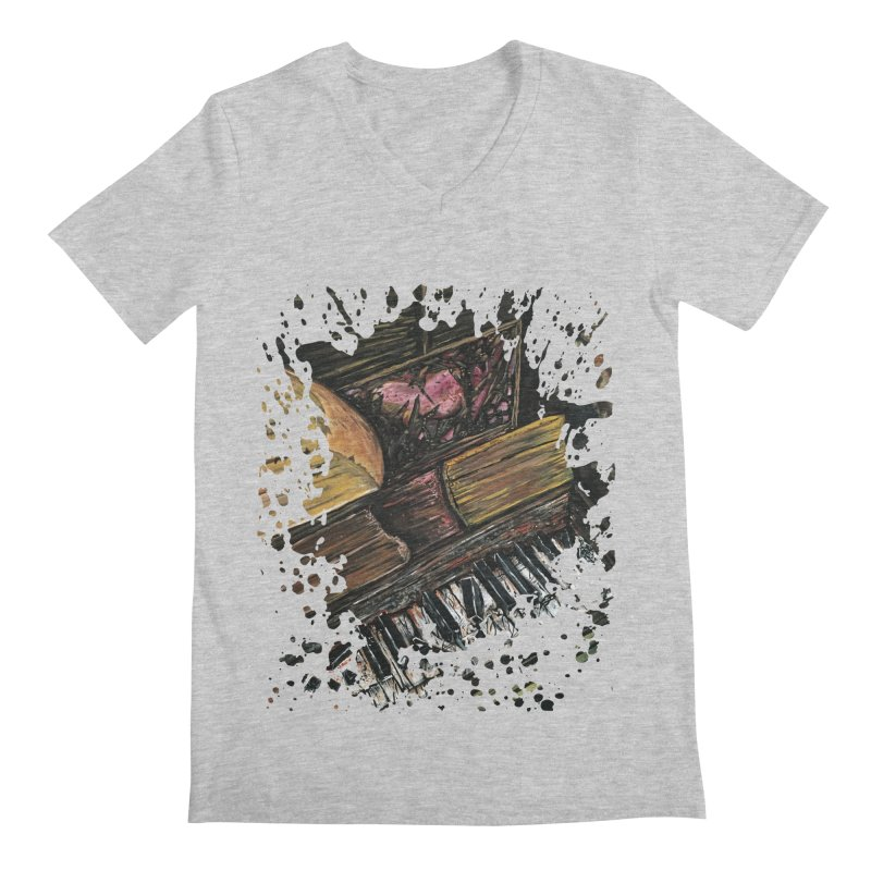 Broken Piano Men's V-Neck by adamzworld's Artist Shop