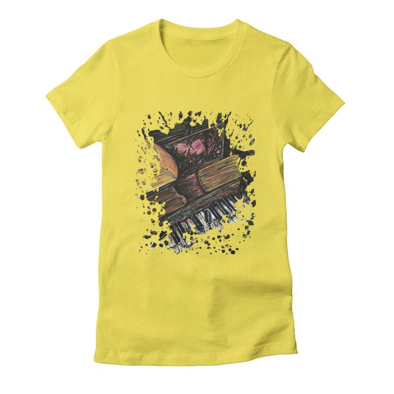 Broken Piano Women's Fitted T-Shirt by adamzworld's Artist Shop