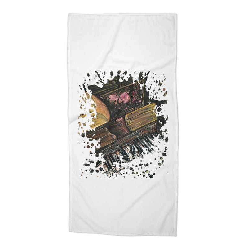 Broken Piano Accessories Beach Towel by adamzworld's Artist Shop