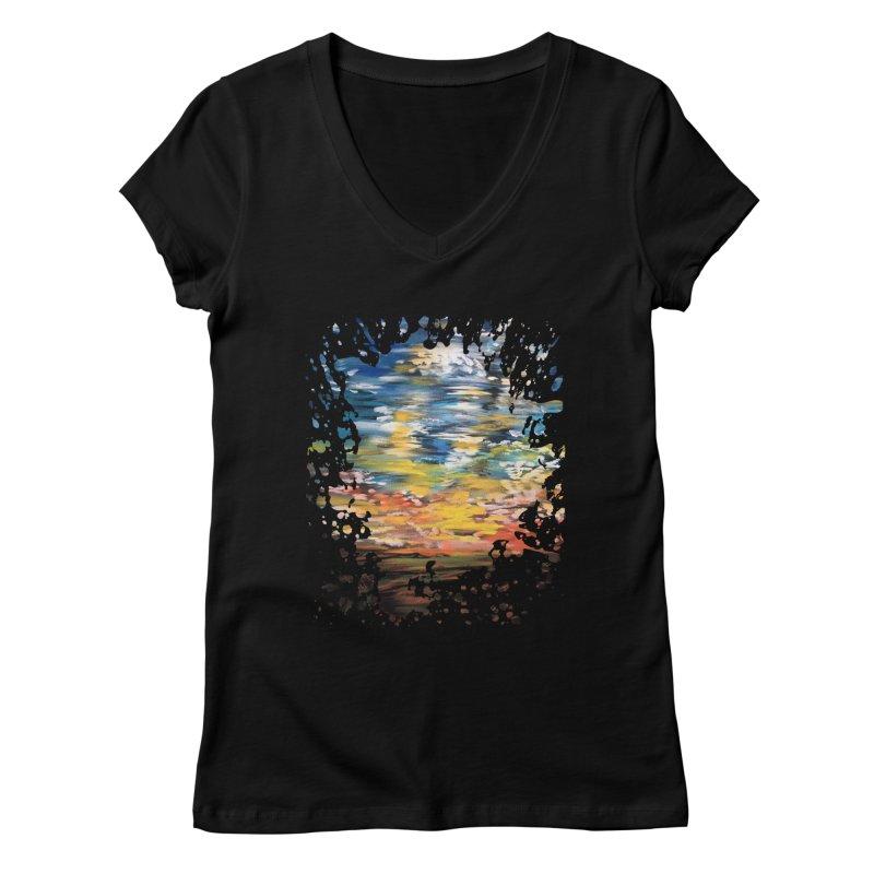 Sundown Women's V-Neck by adamzworld's Artist Shop